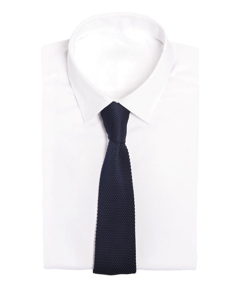 navy-knit-tie-in-silk-silk Editions LESSisRARE