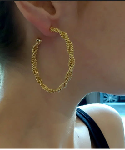 Golden braided hoops - Poggi-worn
