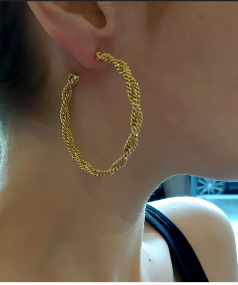 Golden braided hoops - Poggi