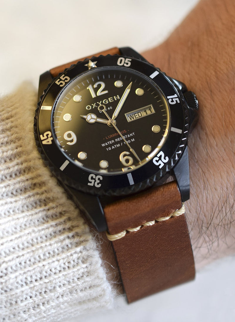 Exchange Diver Moby Dick black 40 watch with light brown leather strap - oxygen watch