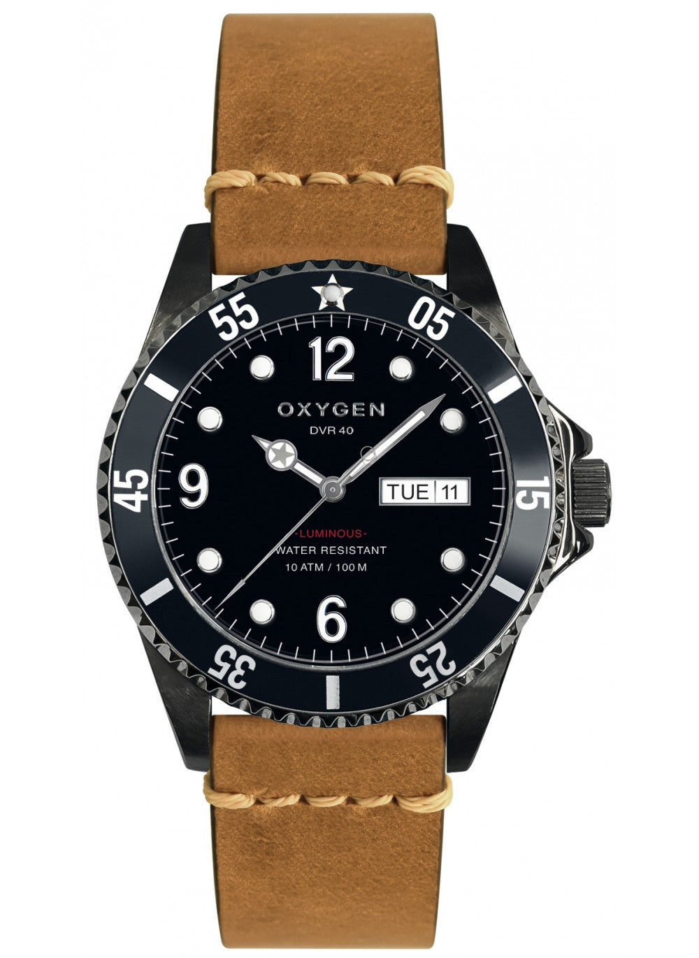 Montre Exchange Diver Moby Dick black 40 bracelet cuir marron clair - oxygen watch