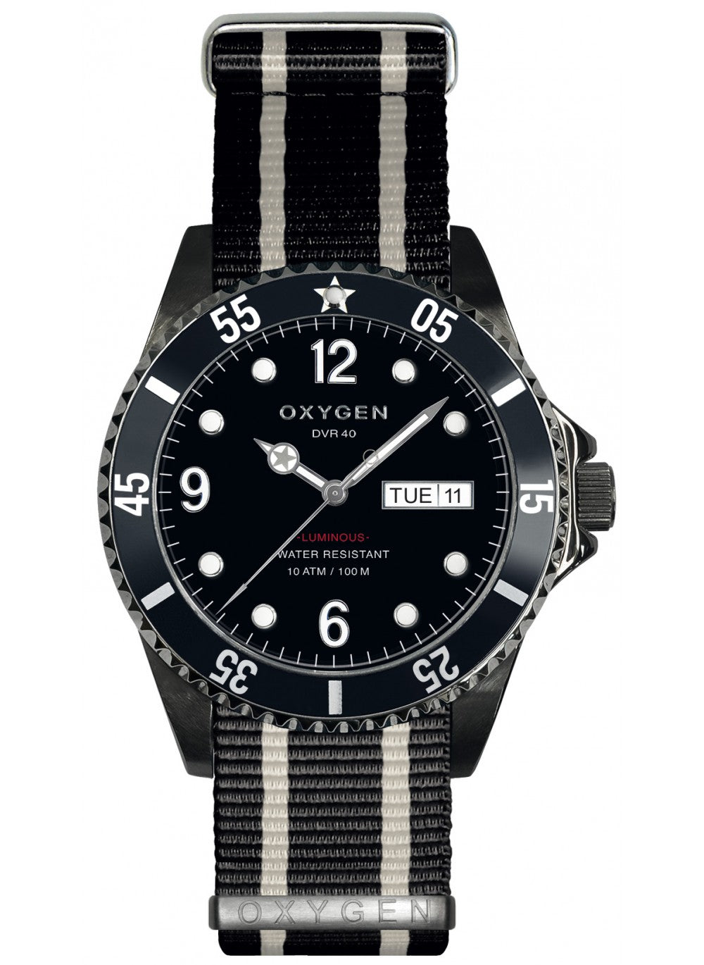 Montre Exchange Diver Moby Dick black 40 bracelet rayé noir, ivoire- oxygen watch