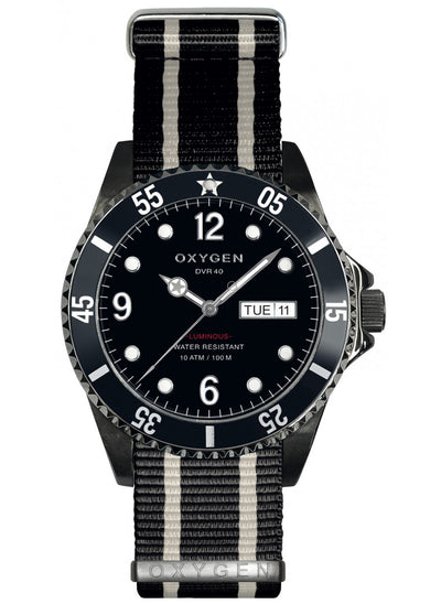 Oxygen 40 watch black case and black and ivory strap