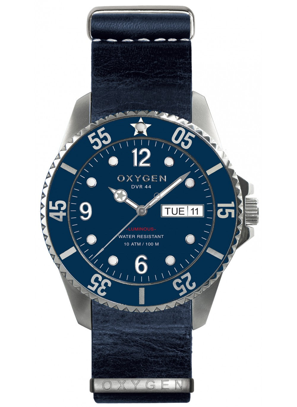 admiral 44 navy leather strap watch
