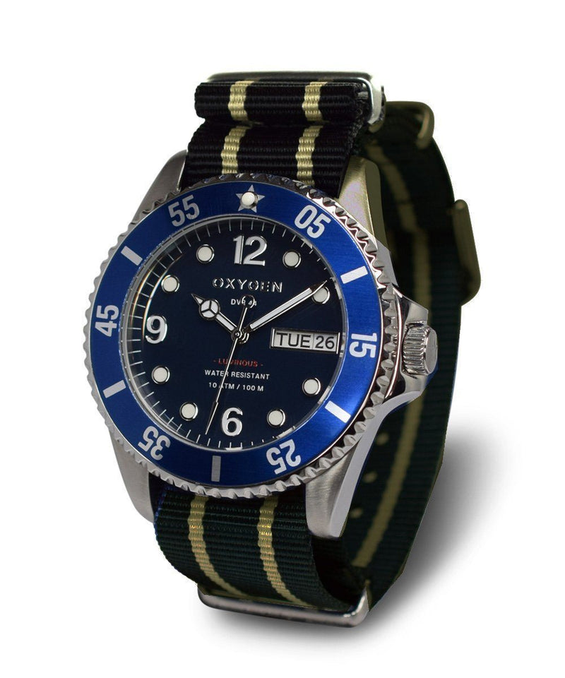 Diver Atlantic 40 Watch - Navy / Ivory / Navy - oxygen watch