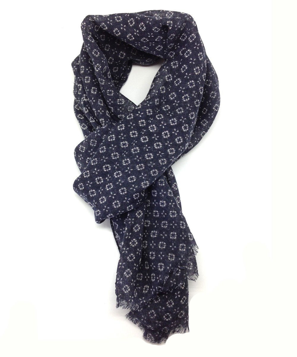 Navy rosette scarf - Editions LESSisRARE