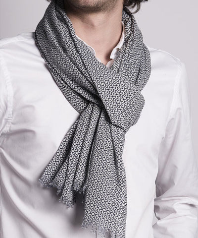 scarf-gray-with-pattern-for-men worn Editions LESSisRARE