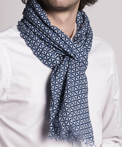 LESSisRARE Editions-blue-a-motif scarf worn