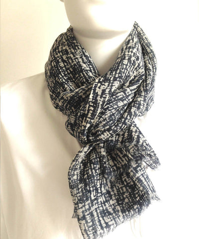 Navy Abstract Scarf - LESSisRARE Editions worn