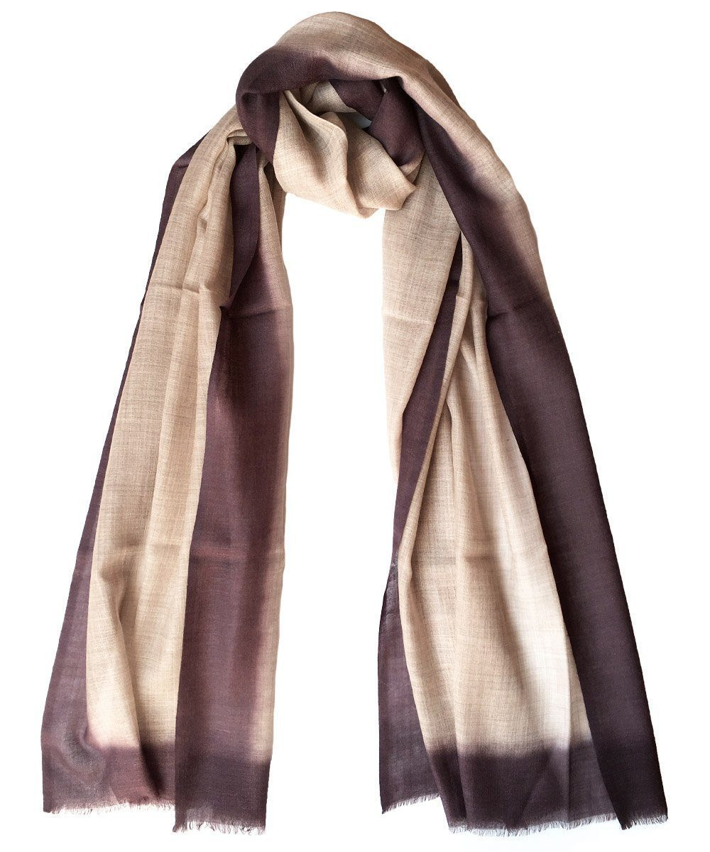 Tie and Dye scarf in beige wool - Editions LESSisRARE