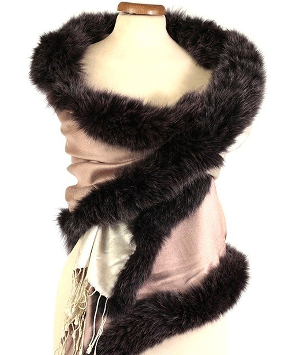 stole-fur-fox-reversible-rose-ecru Editions LESSisRARE