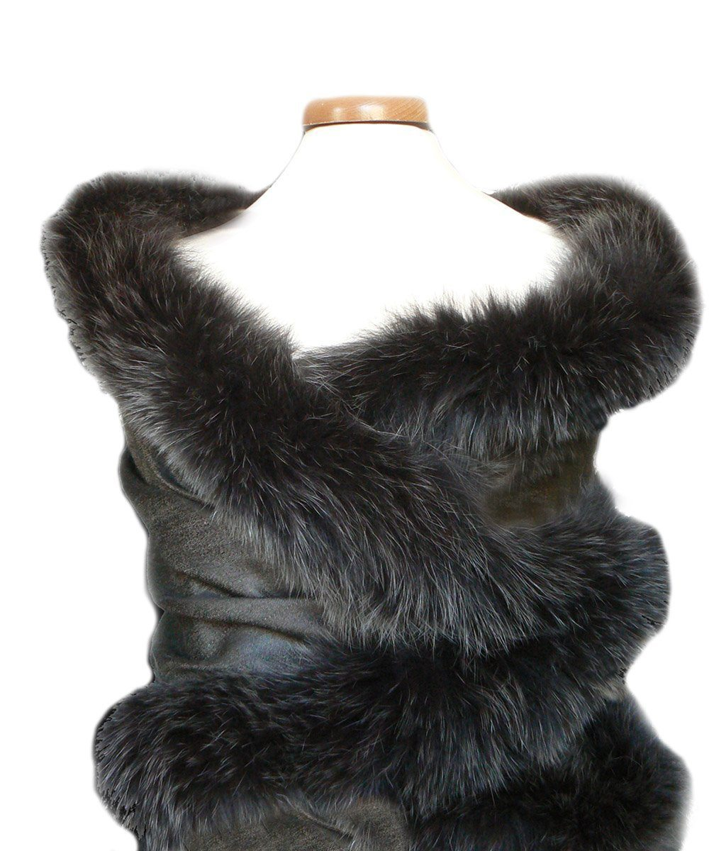 Black and gray reversible fur and silk stole - Editions LESSisRARE