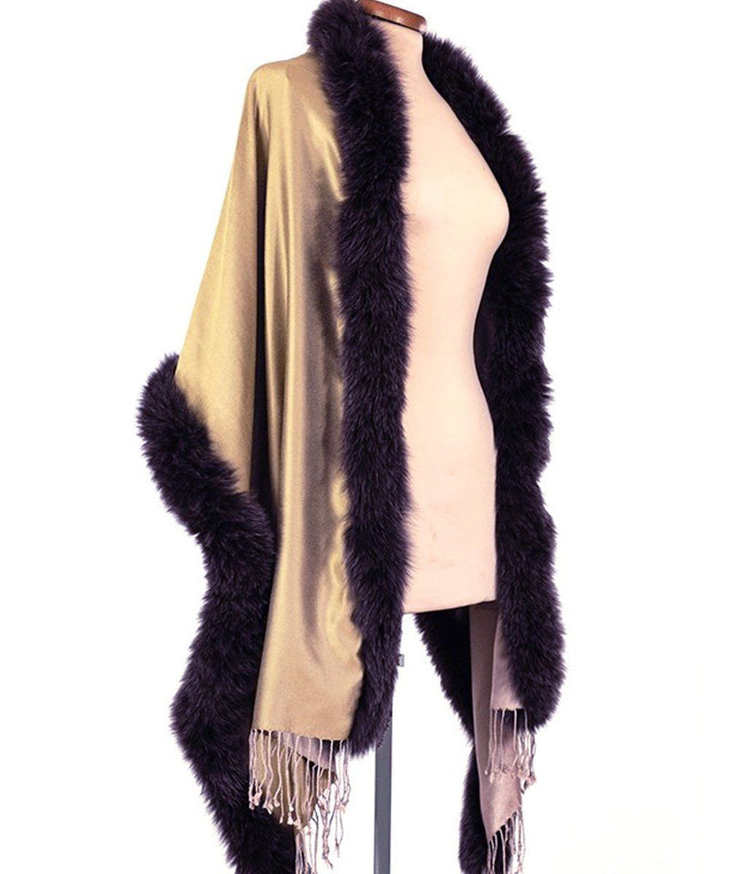 Fur and reversible silk stole beige-ecru fox - Editions LESSisRARE