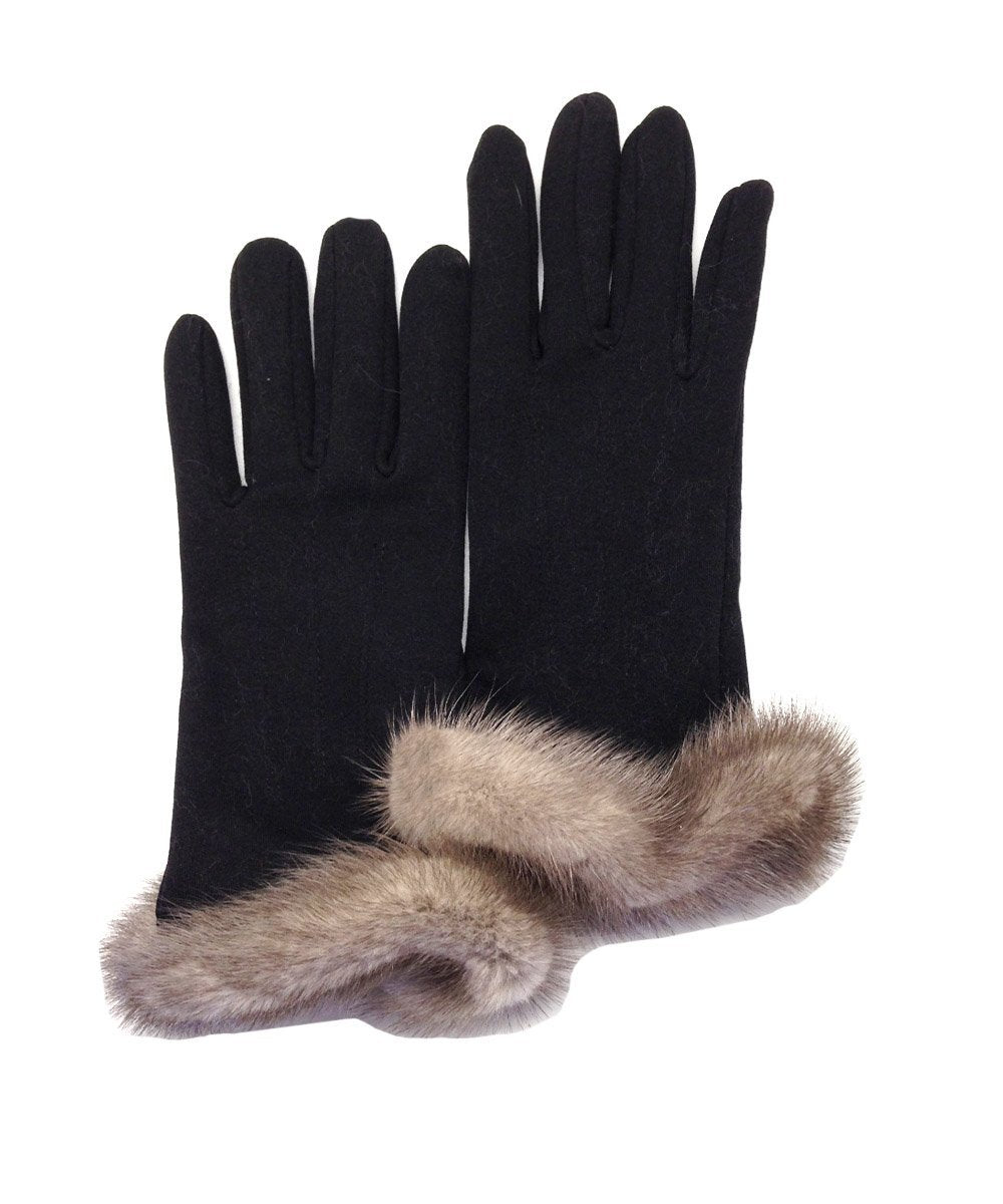 Black gloves with gray mink - Editions LESSisRARE