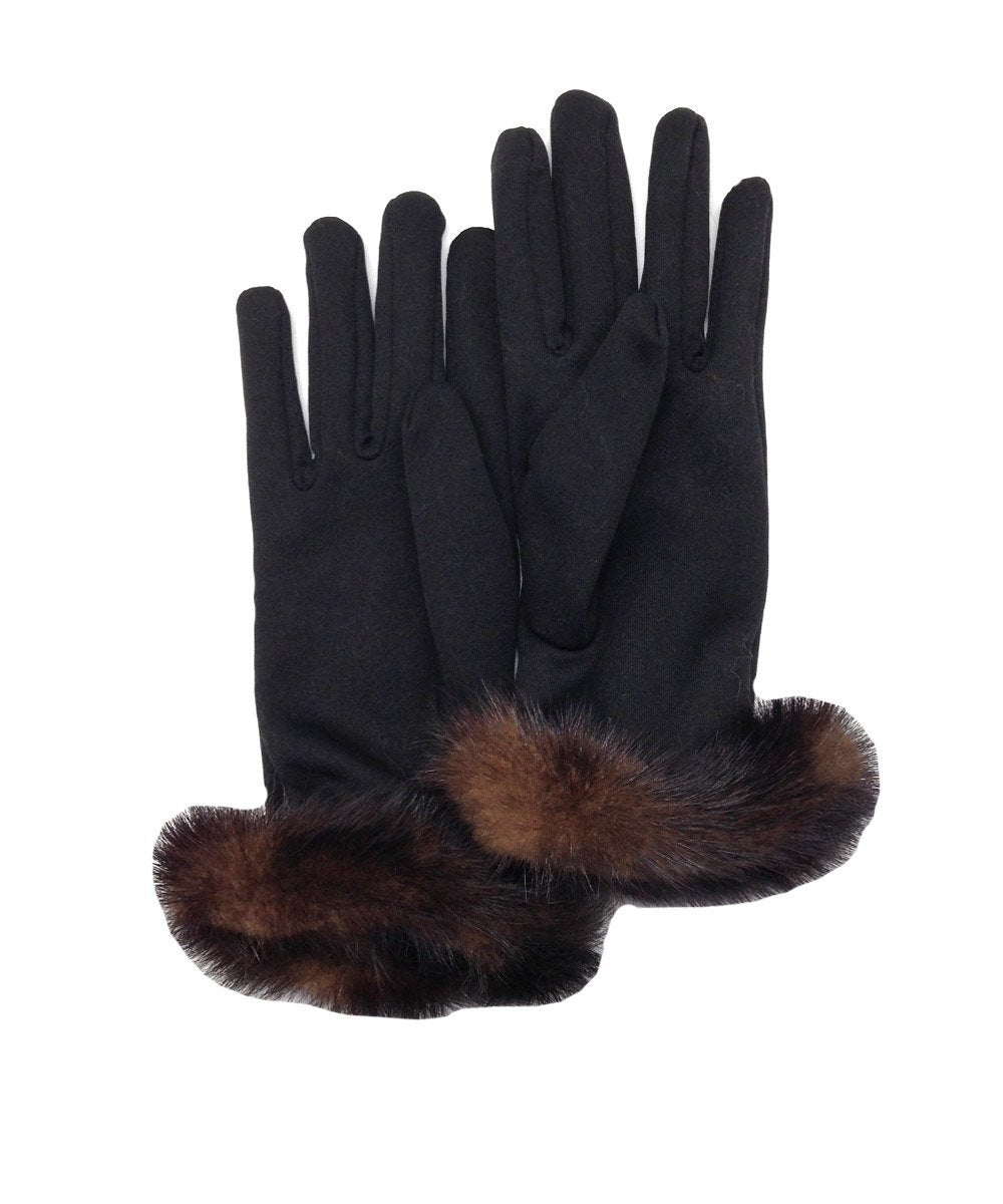 Gants noirs bordés vison marron - Editions LESSisRARE