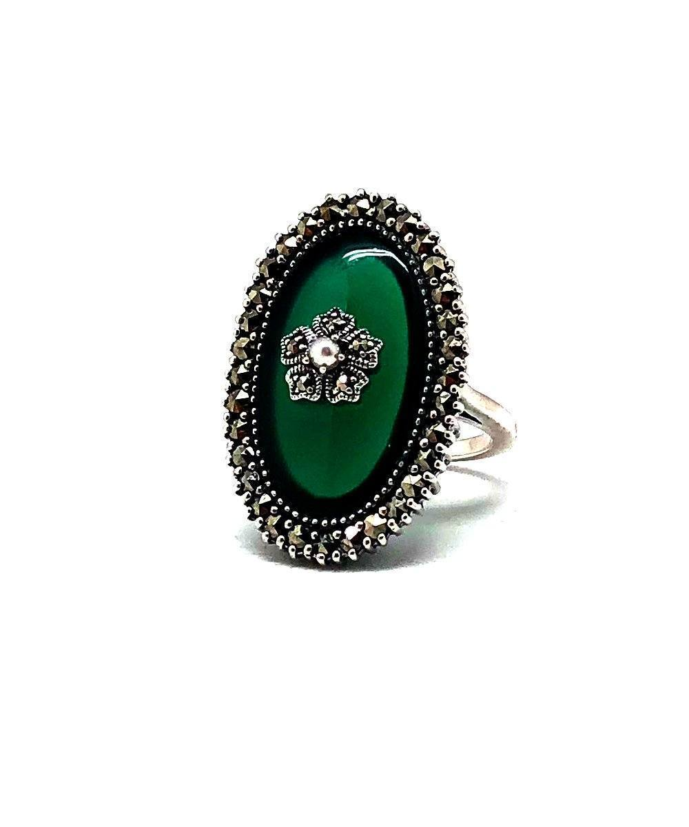 Green Marcasite silver agate ring and art deco cultured pearl