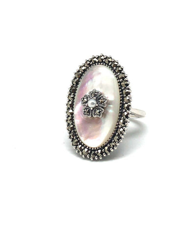 Silver Marcasite mother of pearl ring and art deco cultured pearl