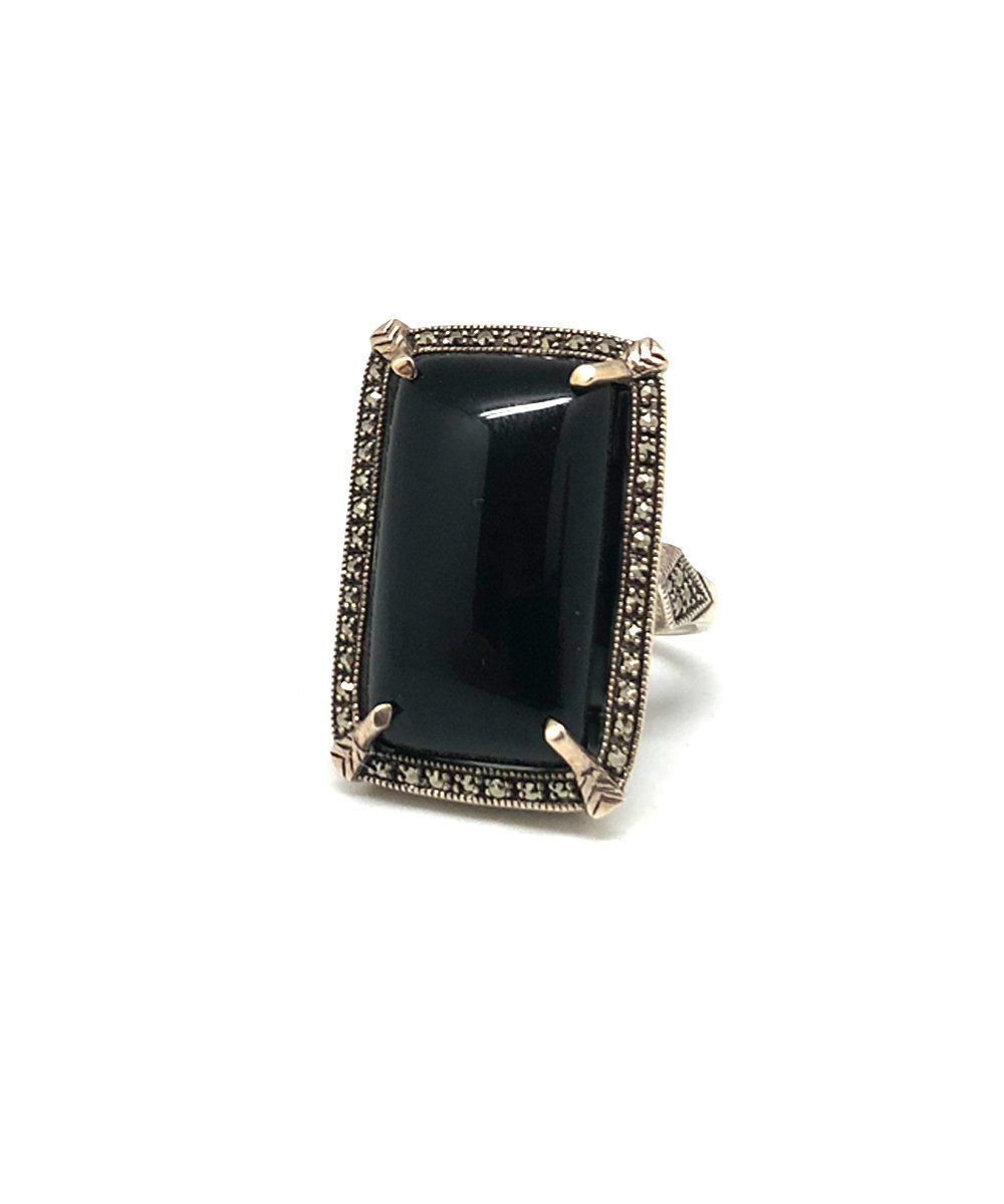 Large onyx rectangular art deco ring in silver and marcasites - Metron
