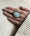 large mother-of-pearl and silver cabochon ring
