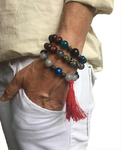 jewels-of-mala-trio-to-wrist-Tibetan mala-agate-blue