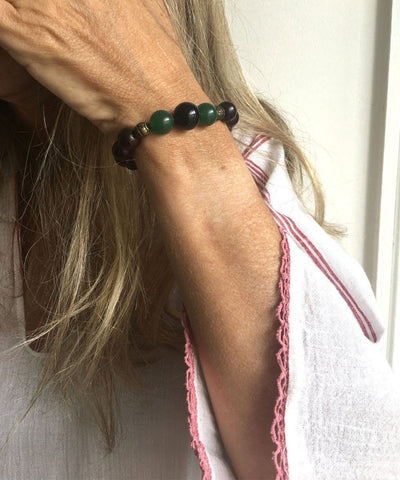 jewels-of-mala bracelet-mala-Tibetan-agate-green onyx