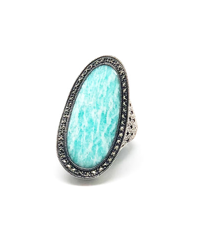 Long art deco amazonite ring in silver and marcasites
