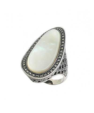 Long art deco mother-of-pearl ring, silver and marcasites aside