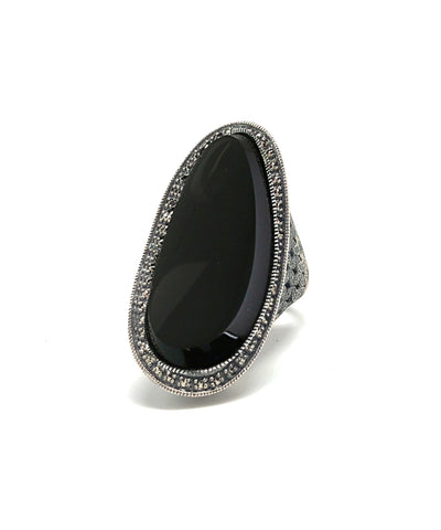 Long art deco onyx ring, silver and marcasites
