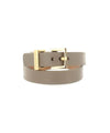 Bracelet double round leather beige gabardine buckle metal creator