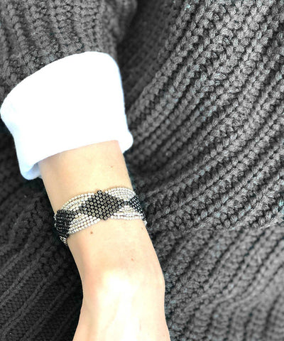 bracelet-mesh-black-and-silver-worn1 Editions LESSisRARE Jewels