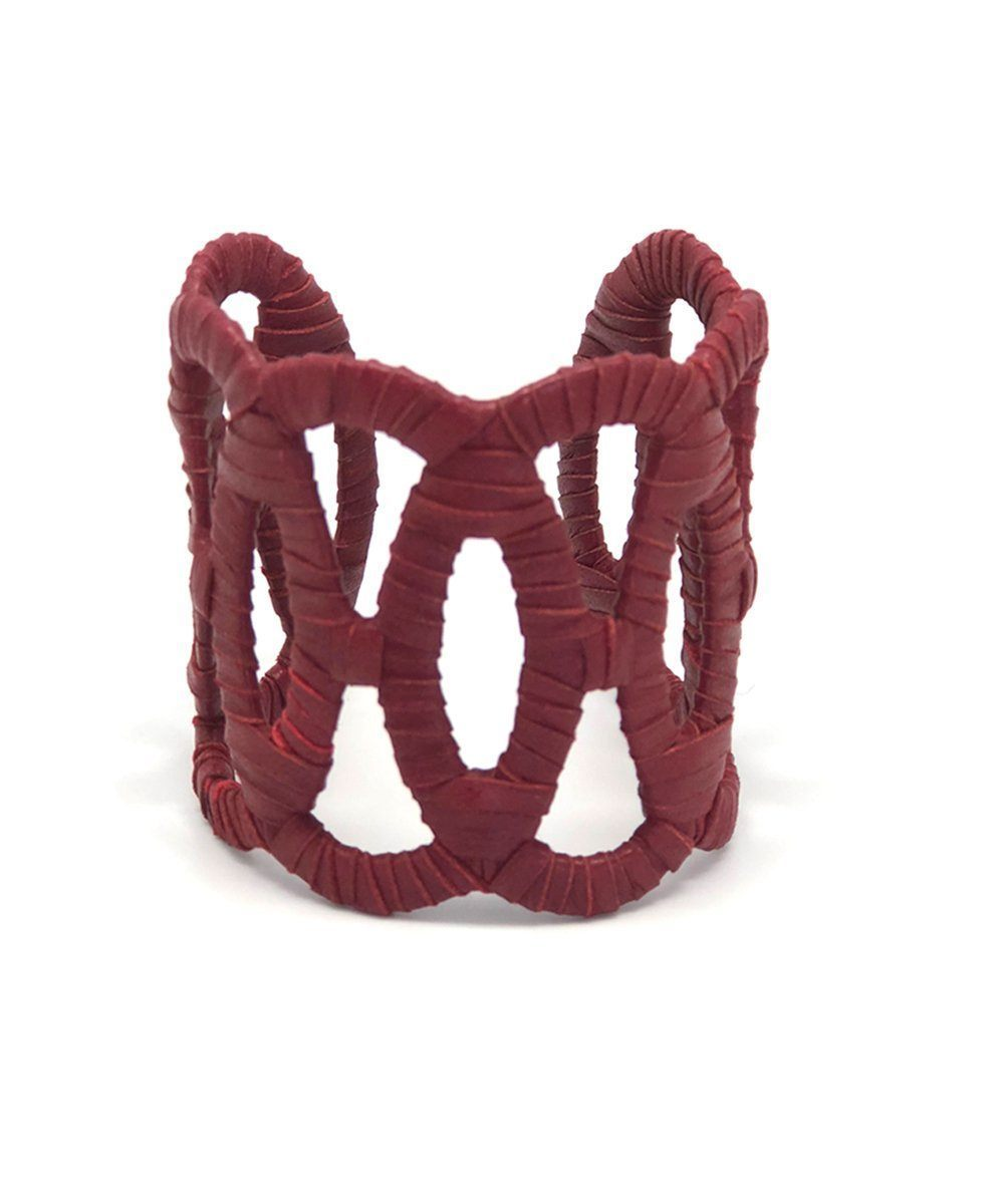 Burgundy red leather cuff bracelet Boks & baum