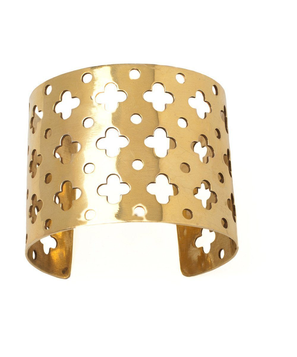 Palazzo cuff bracelet in gilded silver with fine gold - France Thierard