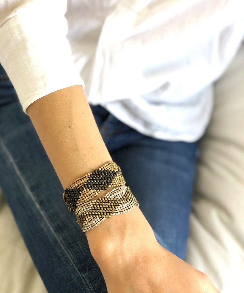 Silver and gold mesh bracelet - Editions LESSisRARE Bijoux