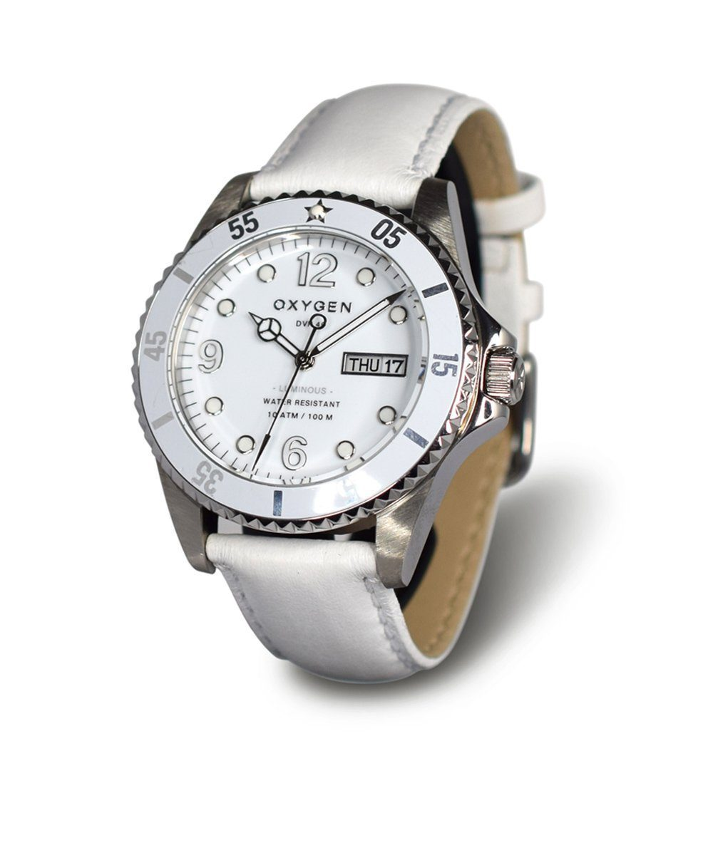 Diver Watch White Diver 40 Leather Watch - oxygen watch