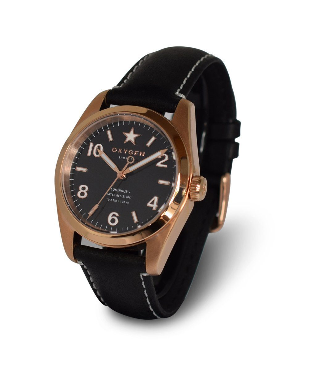 Ingot Watch 38 Black Leather - oxygen watch