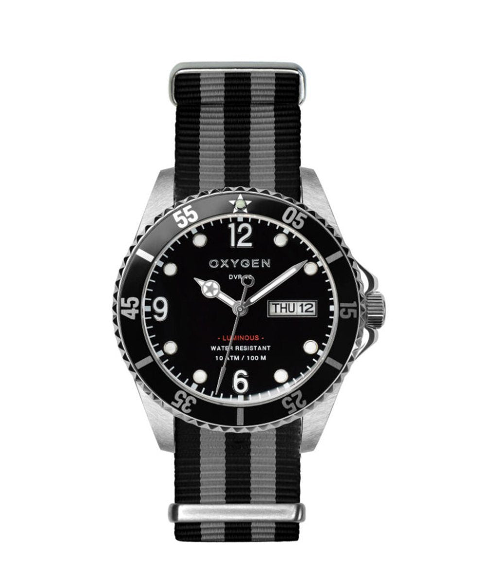 Moby Dick Black 36 Diver Watch Black / Ivory / Black - oxygen watch