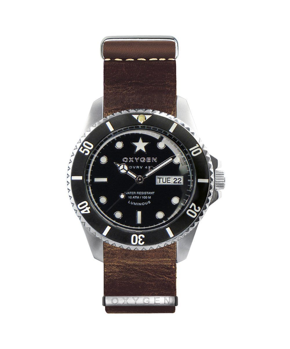 Cigar 42 watch nato leather strap brown - Oxygen Legend