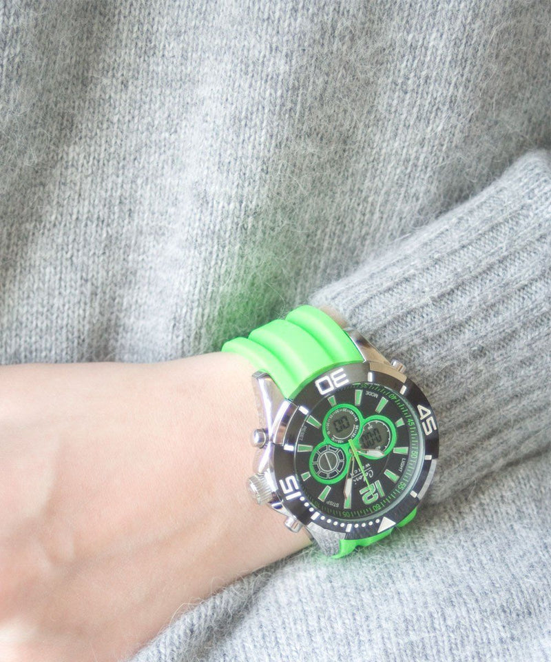 watch-sillicone-green-chrono-sport Editions LESSisRARE Jewels