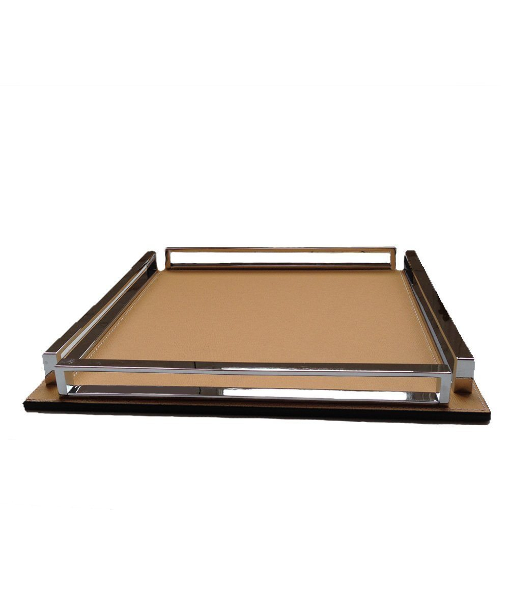 Large square tray in leather and chrome - Bhome