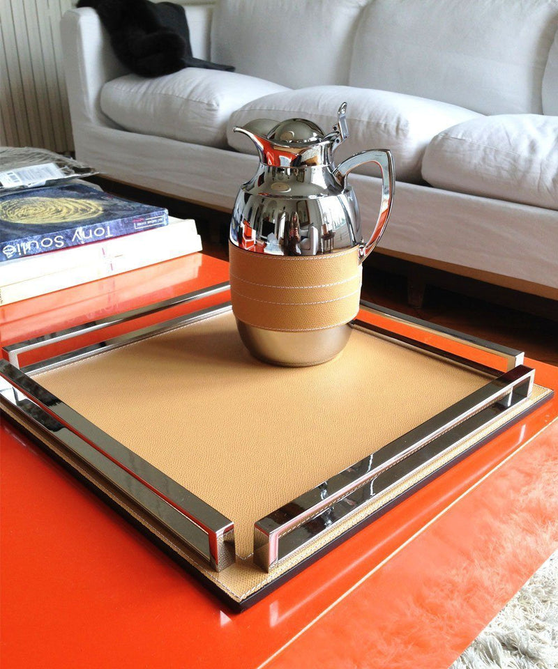 Large custom made square leather and chrome tray