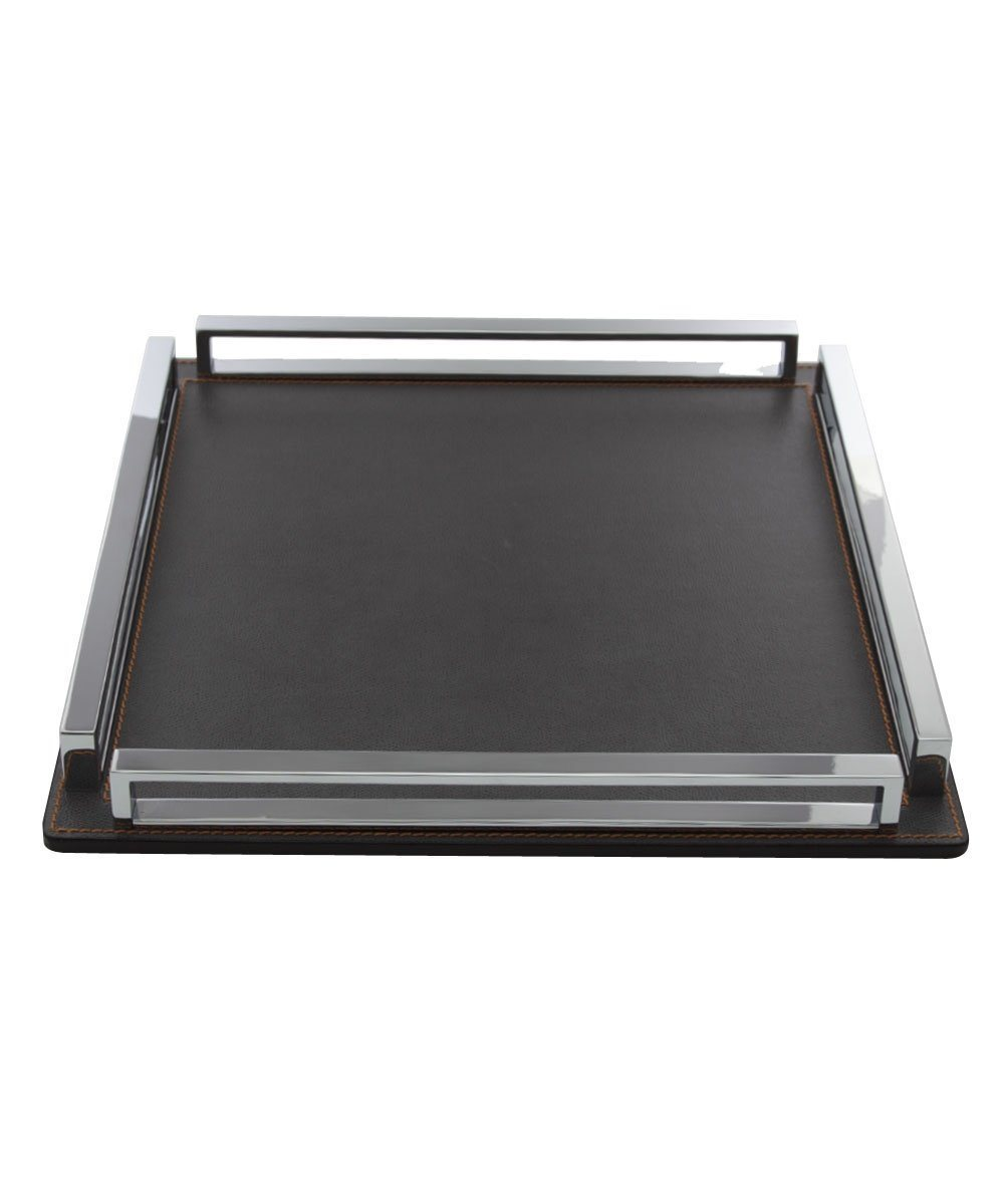 Large square tray in leather and gray chrome - Bhome