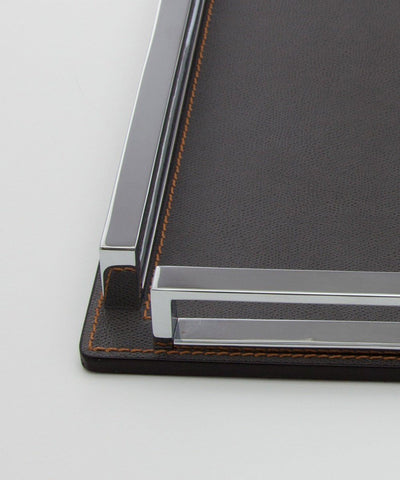 Large square tray in gray leather and chrome - Bhome 2