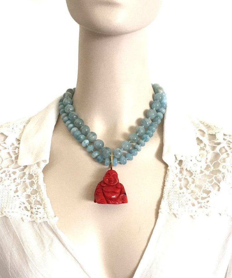 France-THIERARD-collar aquamarine-buddha-coral
