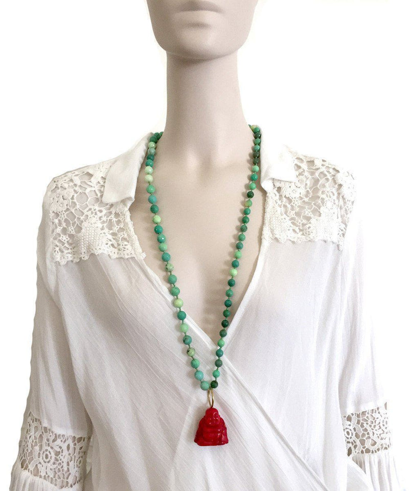 Necklace of green opals, buddha coral - France Thierard