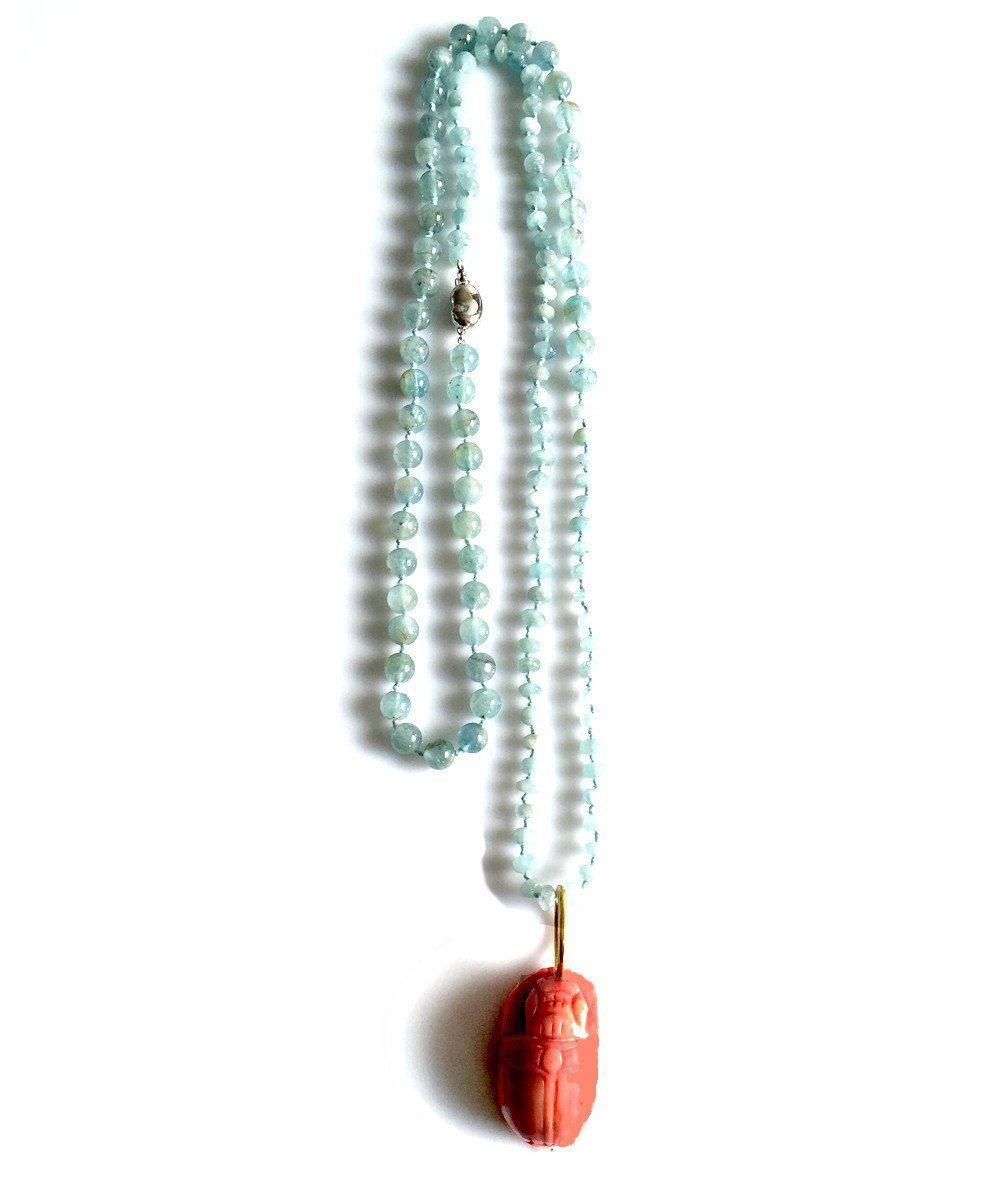 Aquamarine necklace, coral beetle - France Thierard
