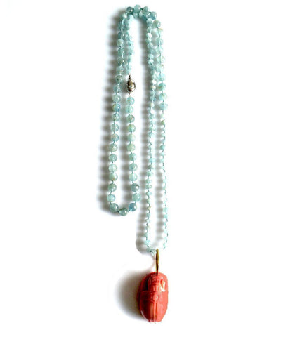 France-THIERARD-collar aquamarine-scarabee-coral