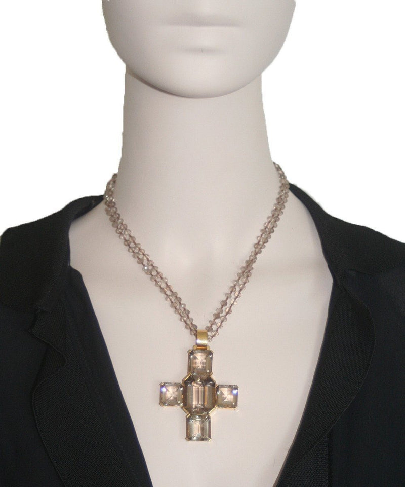 Palazzo cross pendant in light smoked quartz - France Thierard