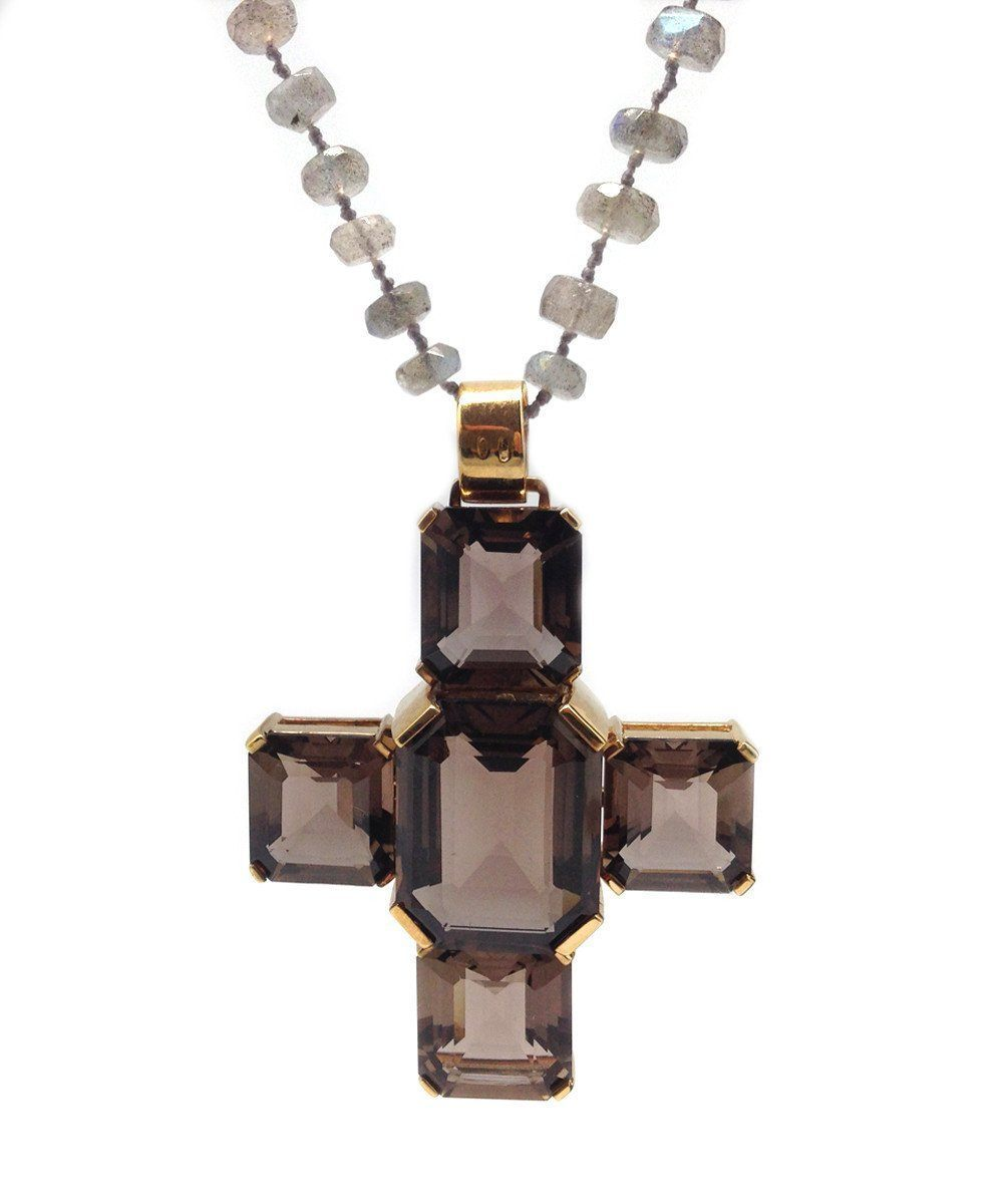 Santa Croce smoked quartz cross pendant - France Thierard