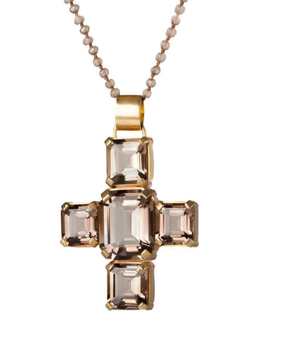 France-THIERARD-pendant-cross-Palazzo-en-quartz-smoke-clear