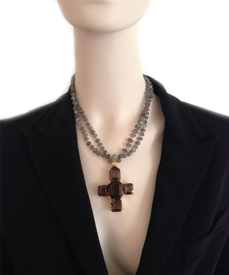France-THIERARD-pendant-cross-Santa Croce-quartz-smoke